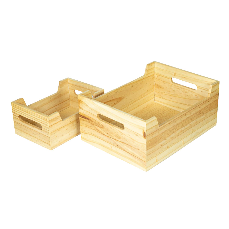 Kit de canastas de madera (grande y pequeña)