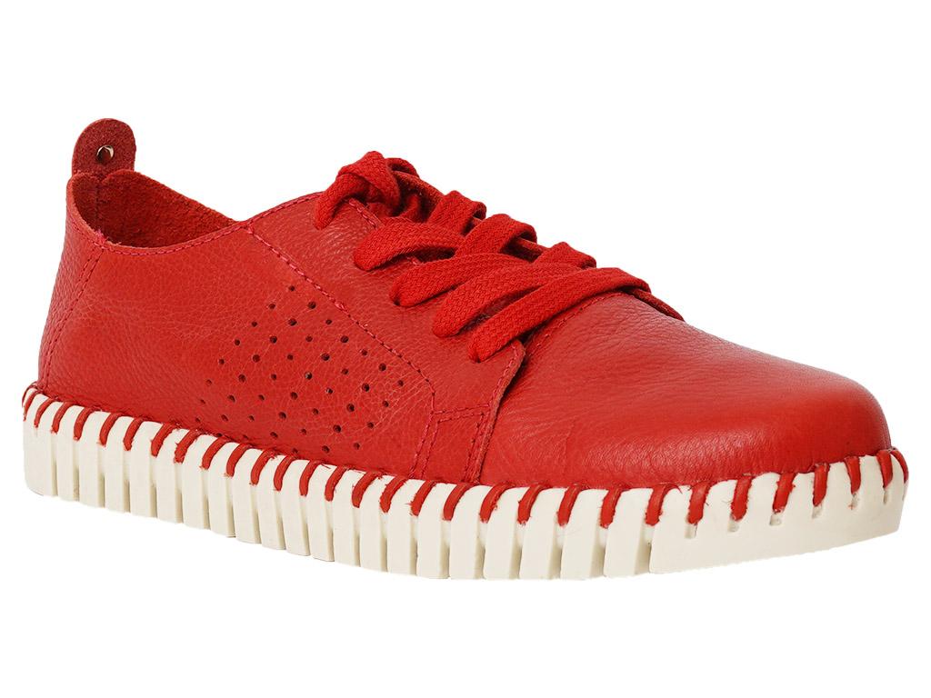 Zapato Cerrado Cuero Rojo