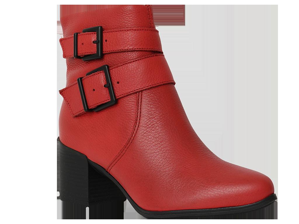 Botin De Cuero Rojo Con Hebillas