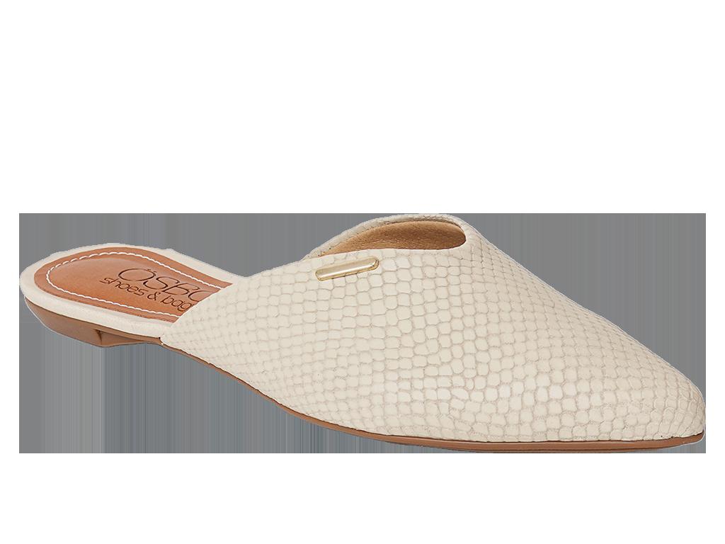 Zapato Flat Destalonado Cuero Marfil