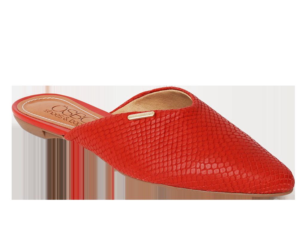 Zapato Flat Destalonado Cuero Rojo